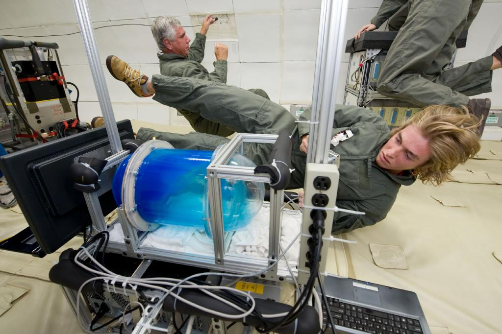 Capturing video of slosh dynamics experiment on ZEROG aircraft. ;)