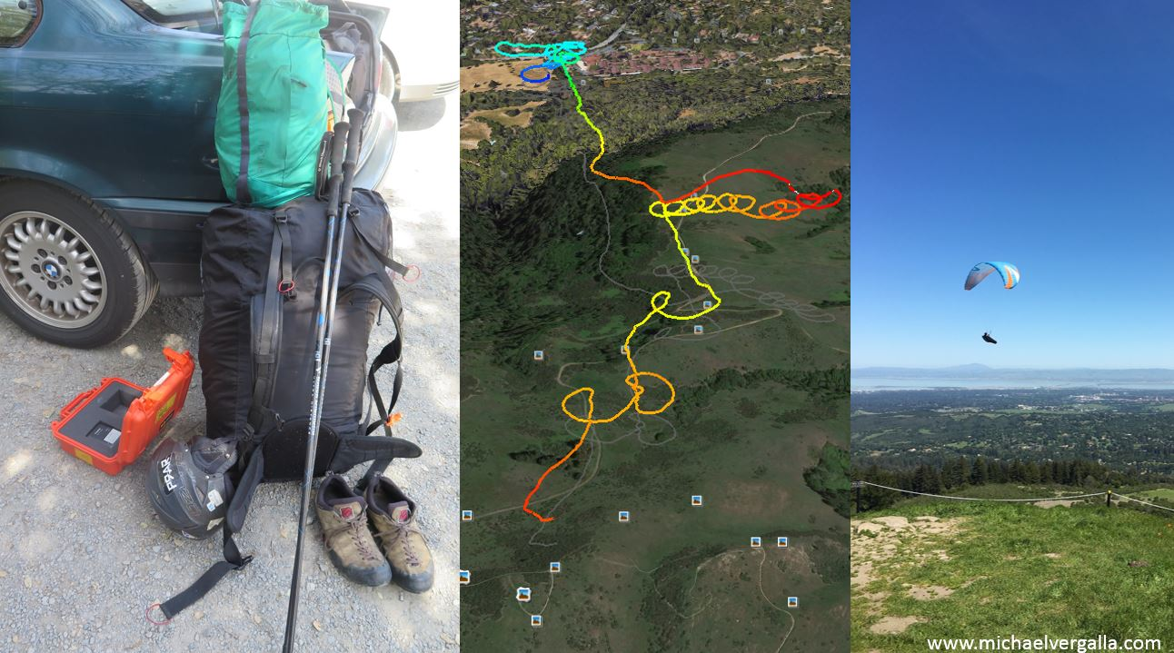 Hiked up with gear for reality capture. Flight path colored by altitude.  Soaring the peak on the first flight - photo credit: Bob Posey