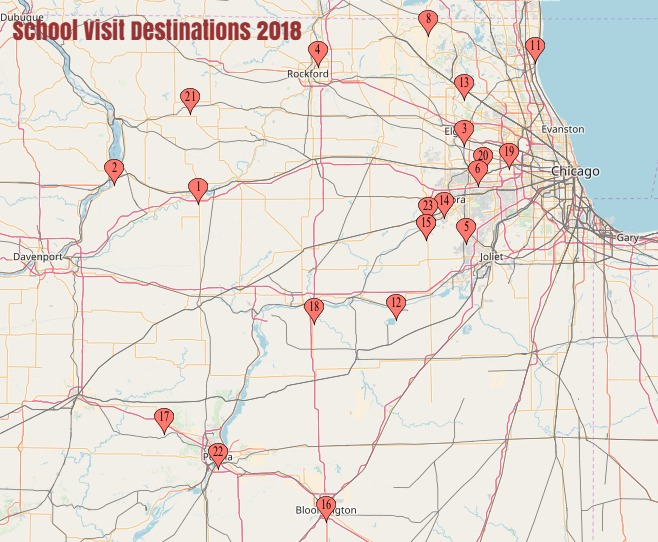A MAP OF SCHOOL VISIT DESTINATIONS
