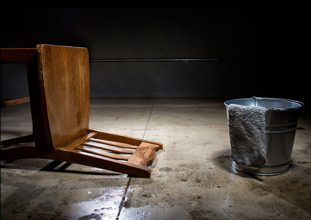 Fallen chair, human rights conference