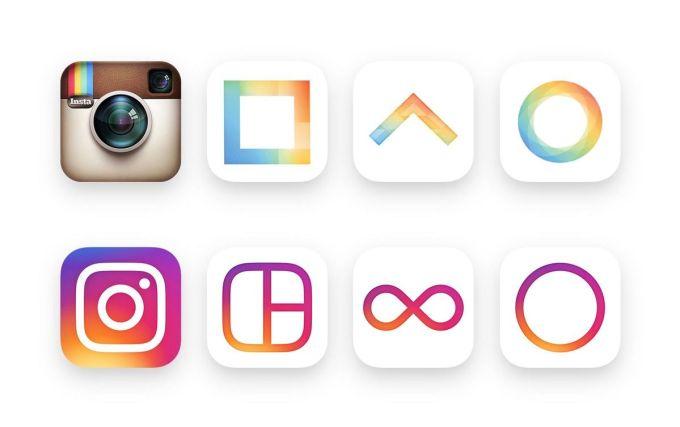 Stare i nowe ikony Instagrama i pokrewnych aplikacji.