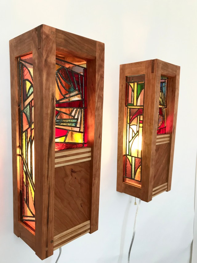 Cherry Lamp with Stained Glass