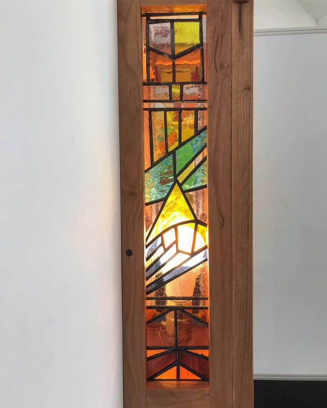 Stained Glass Panel and Cherry Fixture