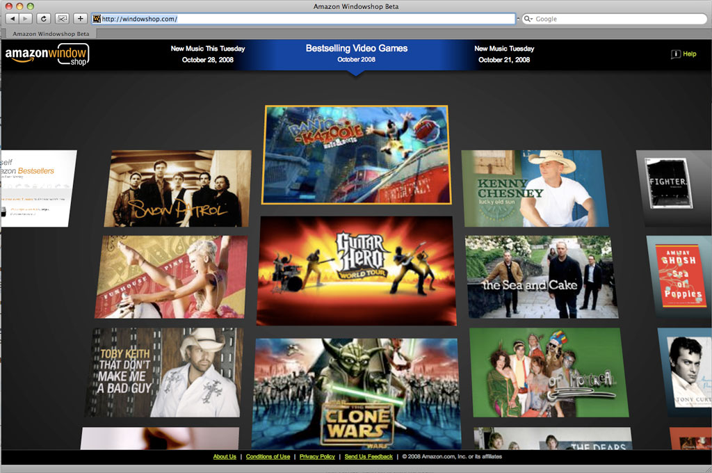 Screenshot nového obchodu Amazon Windowshop