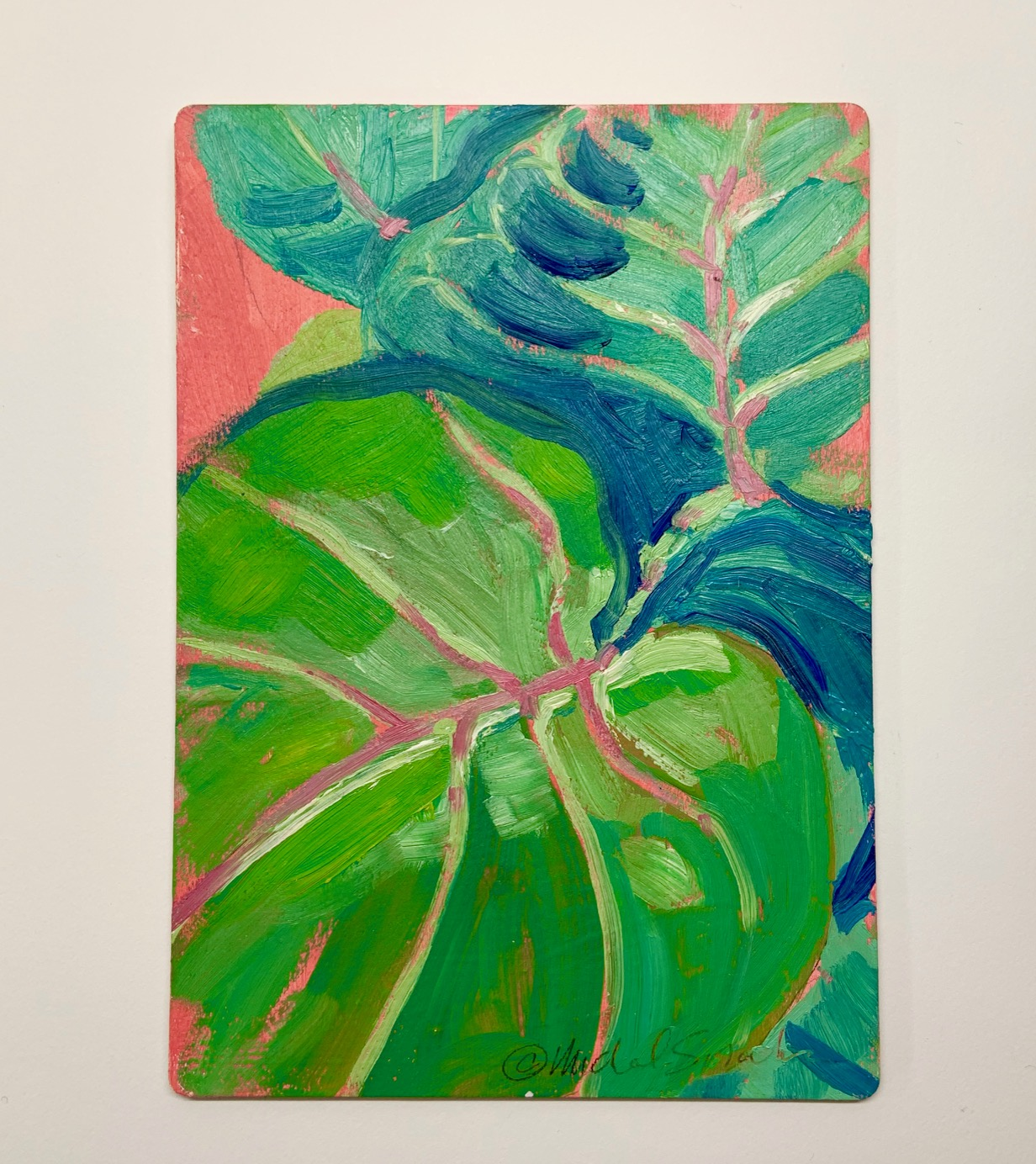 Tropical Leaf Oil Painting Art Wooden Postcard Michal Sparks Choose your favorite tropical leaves paintings from millions of available designs. tropical leaf oil painting art wooden postcard michal sparks
