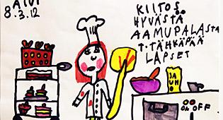 """Escrito de un niño: """"Gracias por el buen desayuno..."""""""
