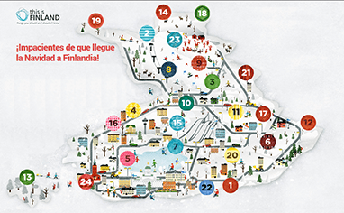 Calendario de adviento con el mapa de Finlandia