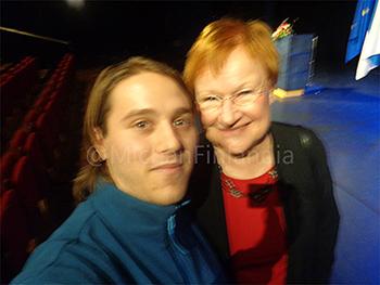 Selfie con Tarja Halonen