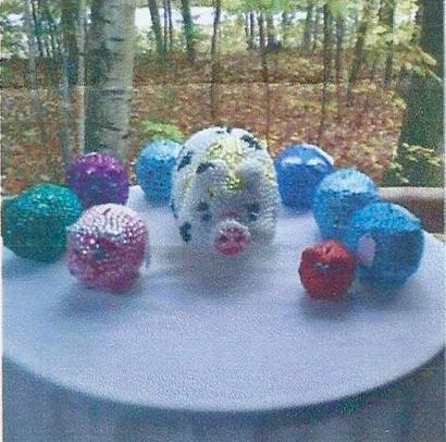 Sandy's One of a Kind – Repurposed Glass Art, Bebazzle Piggy Bank, Birdhouses