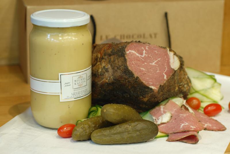Pastrami Wagyu bistronomique avec moutarde au miel et cornichons au tonneau, Michel Kalifa - Maison David, Samuel Bloch ©