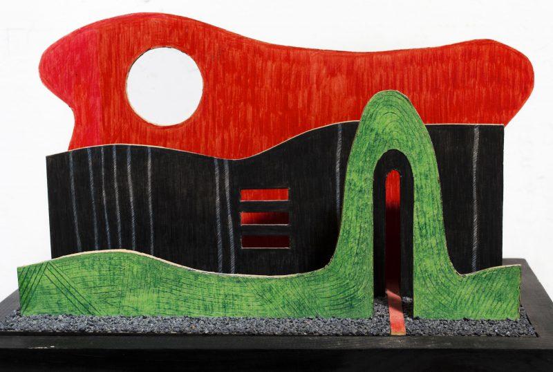 Michel Rossigneux - Haïku n°2 - techniques et matériaux divers: bois, carton, crayons de couleur, sable...