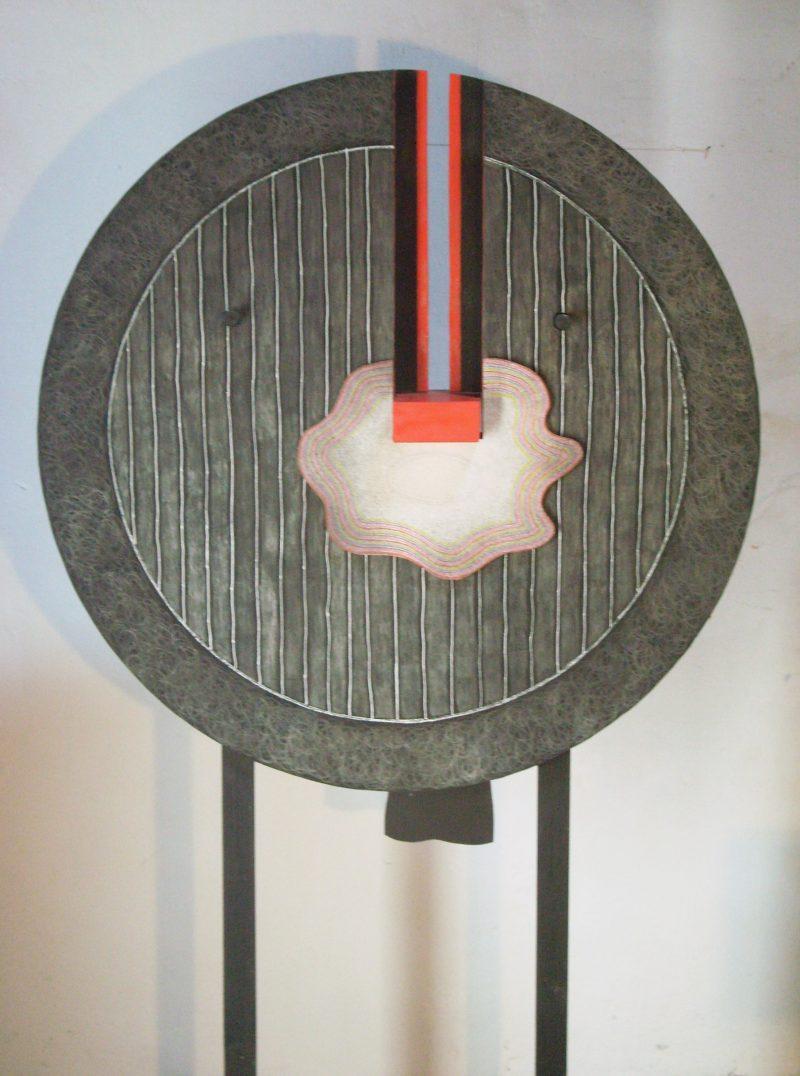Michel Rossigneux - Traverse n°2 rectp - Bois, carton, crayons de couleur
