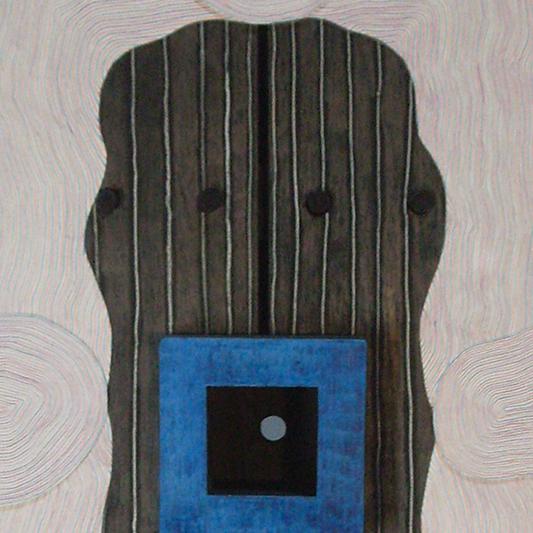 Michel Rossigneux - Traverse n°1 détail - Bois, carton, crayons de couleur