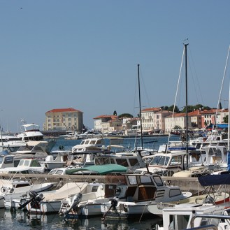 Harbour with seaside promenade and boats