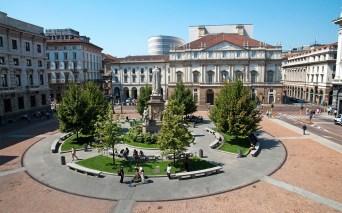 Exterior view of the theatre La Scala in Milan, Italy