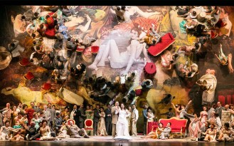Opera scene in the concert hall of theatre Verdi in Trieste, Italy