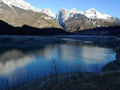 Emptied water basin Lake Molveno