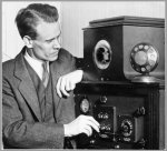 Philo Farnsworth with 1935 TV set.