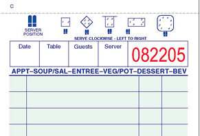 Order form with table layouts and numbered positions