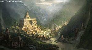 Représentation de Shambala,la mythique capitale souterraine du Royaume d'Aquata...ou siège le Roi du Monde!