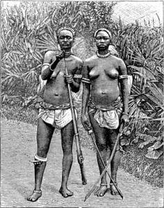 Dessin d'époque représentant 2 amazones du Dahomey.