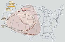 Comparaison entre diverses éruptions volcaniques.Remarquez que le mont St-Helens ressemble à un nain au côté de Yellowstone.