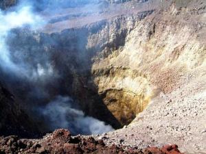 Une photo aérienne du cratère du volcan San Miguel ,quelques jours avant l'éruption.