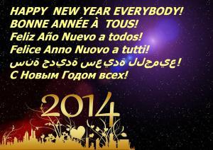 En 2014, je porte un toast  à  votre  Santé ! Que cette nouvelle année soit pétillante de joie et de gaieté, que l'ivresse de l'Amour vous envahisse et adoucisse vos journées, que l'euphorie de l'Amitié accompagne vos soirées et que les bulles de Rire chatouillent chaque jour  votre  palais ! Je vous  souhaite  la meilleure année de votre vie ...jusqu'en 2015 !