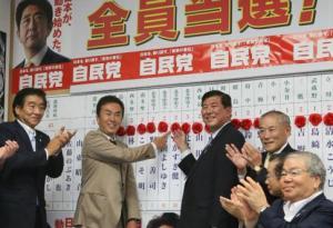 La victoire sans scrupule de Abe et de l'argent détournée des fonds publics par TEPCO.