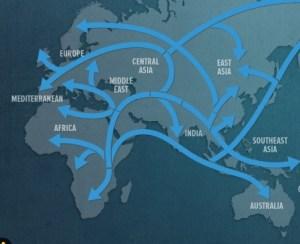 La carte basée sur les données du projet Genographic. La découverte dont ils parlent est la flèche du bas menant à l'Australie. Notez comment elle ne va pas à l'Europe. A noter également l'absence de flèche menant de l'Inde à l'Europe.
