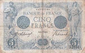 Le 16 mai 1913 ,la banque de France émettait ce superbe billet de 5 francs.Pour un collectionneur comme moi,je ne pouvais pas passer à côté.
