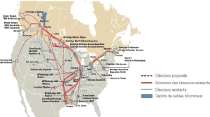 Les oléoducs existants et prévus en Amérique du Nord.