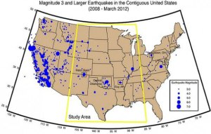 La carte des séismes en relation avec le fracking,en Amérique./ Map of earthquakes related to fracking in America.