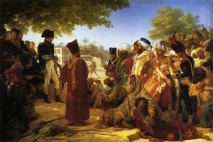 L'empereur Napoléon Bonaparte pardonnant aux rebelles du Caire. Ce dessin exprime bien la magnanimité d'un grand homme d'état. Dans quel livre d'histoire retrouverez vous ce détail du respect  de la vie humaine dans les coutumes de l'empereur après une victoire? ...Dans  aucun écrit par les vainqueurs de Waterloo!