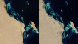 La croissance urbaine en Egypte: En Hurghada ,il ne vivait que 12 000 personnes dans les années 80 (à gauche). En 2014 (à droite), la ville est beaucoup plus grande, a plus de 250 000 habitants. Environ un million de touristes sont là chaque année pour visiter