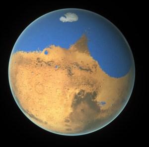 Les scientifiques de la NASA ont déterminé qu'un océan primitif sur Mars a tenu plus d'eau que l'océan Arctique de la Terre et que la planète rouge a perdu 87 pour cent de cette eau à l'espace. L'eau aurait couvert 20% de la planète il y a environ 3 milliards d'années. Crédit: NASA / GSFC