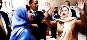 Hillary Clinton recouverte d'un tchador...Elle représente le danger no 1 pour la sécurité des nations.