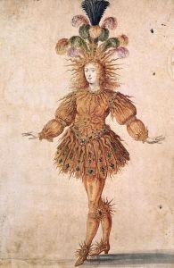 Dessin d'époque représentant le roi dansant.