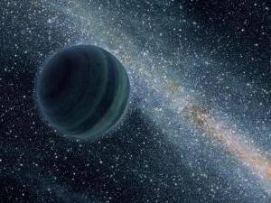 Dessin d'artiste donnant une idée de la Planète 9.