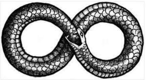 Toutes les anciennent traditions parlent du mythe du serpent ,même de la confrérie du Serpent.Les nibiriens pourraient être des reptiliens. Le fameux symbole ,ici pourrait représenter le passage de Nibiru dans le système solaire? Qui sait?