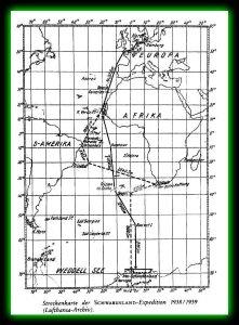 La carte de l'expédition de 1938-39 nous montre aussi des établissements (ou colonies) du Reich ,en Amérique du Sud.