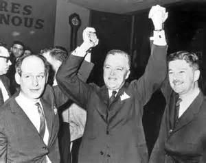 René Lévesque,Jean Lesage et Paul-Gérin Lajoie:3 grands francs maçons bien connus. Le soir de la victoire, le chef libéral  Jean Lesage,s'est écrié: «C'est plus qu'un changement de gouvernement, c'est un changement de la vie!» Defait, son élection marque le début de la Révolution tranquille, un événement qui occupe une place centrale dans notre mémoire collective.