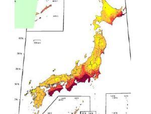 La carte japonaise des lieux à risque pour des tremblements de terre majeurs.