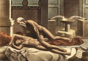 Au début du 20 ième sicle:un dessin représentant une relation homosexuelle .Les corps sont épilés.