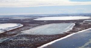 Permafrost :ci - dessous les lacs peu profonds comme ceux - ci sur la plaine côtière de l' Alaska sont la résultante de la décongélation à la suite de l' évolution du climat d'hiver. Image: Christopher Arp, Université de l' Alaska Fairbanks
