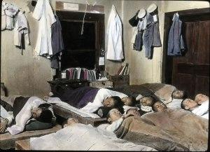 Photo prise à l'intérieur d'un dortoir dans une école supérieure ,en Corée du Nord.