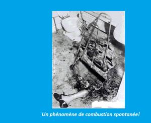 Ceci est une photo 1972 d'une victime de la combustion humaine spontanée, où une personne se fait brutalement désintégrer par  les flammes pour aucune raison apparente.