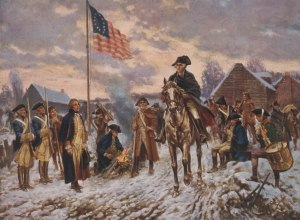 George Washington à Valley Forge ou il endura la famine et le froid avec ses hommes.