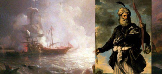 Bataille d'un navire français de ligne et de deux galères des corsaires barbares / ottomans ( domaine public ). Encadré: Un pirate ottoman