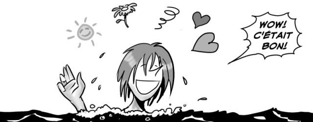 Michèle qui émerge de la rivière